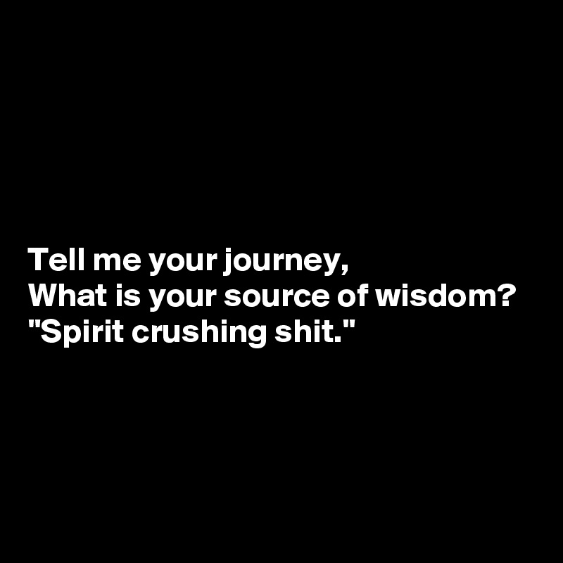 "Tell me your journey, What is your source of wisdom? ""Spirit crushing shit."""