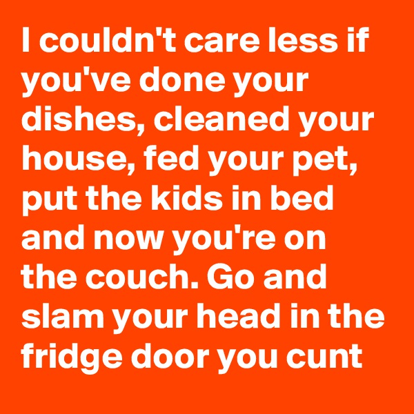 I couldn't care less if you've done your dishes, cleaned your house, fed your pet, put the kids in bed and now you're on the couch. Go and slam your head in the fridge door you cunt