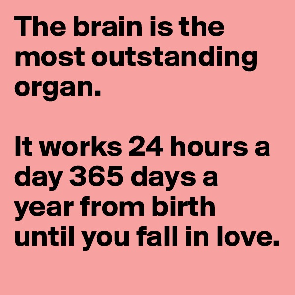 The brain is the most outstanding organ.   It works 24 hours a day 365 days a year from birth until you fall in love.