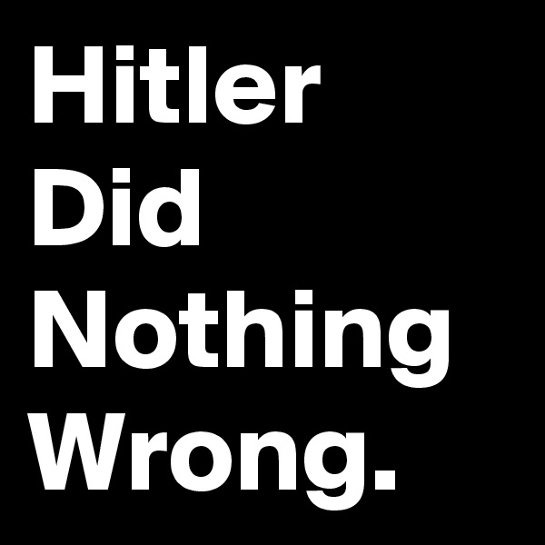 Hitler did nothing wrong