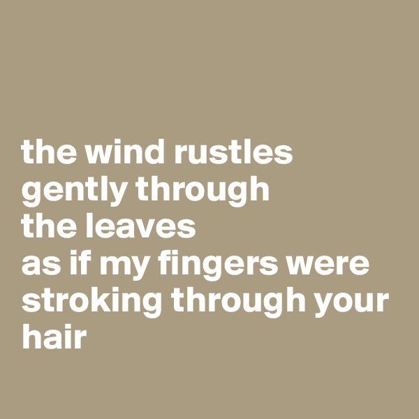 the wind rustles gently through  the leaves  as if my fingers were stroking through your hair