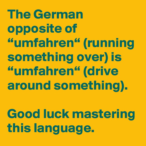 "The German opposite of ""umfahren"" (running something over) is ""umfahren"" (drive around something).  Good luck mastering this language."