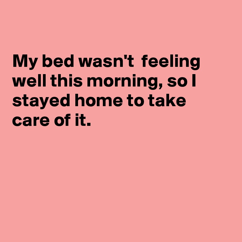 My bed wasn't  feeling well this morning, so I stayed home to take care of it.