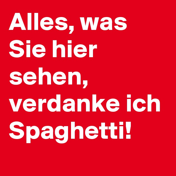 Alles, was Sie hier sehen, verdanke ich Spaghetti!