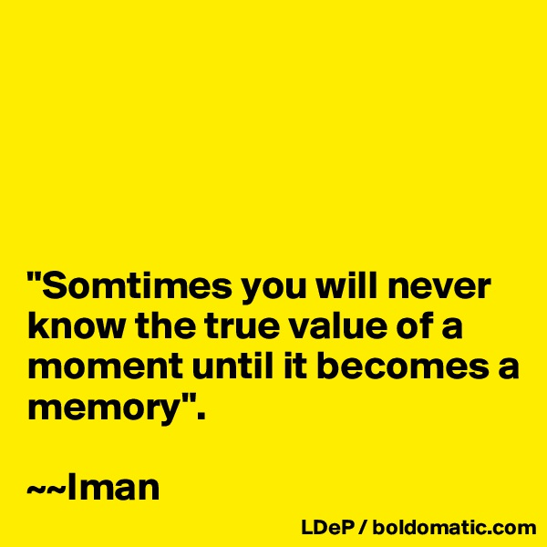 """""""Somtimes you will never know the true value of a moment until it becomes a memory"""".  ~~Iman"""