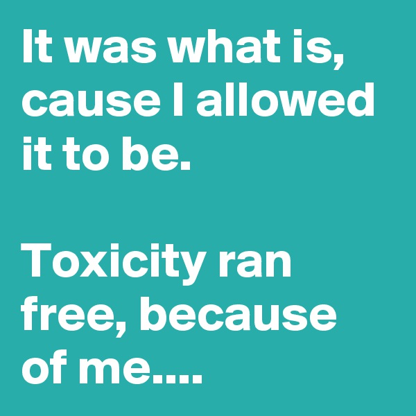 It was what is, cause I allowed it to be.  Toxicity ran free, because of me....