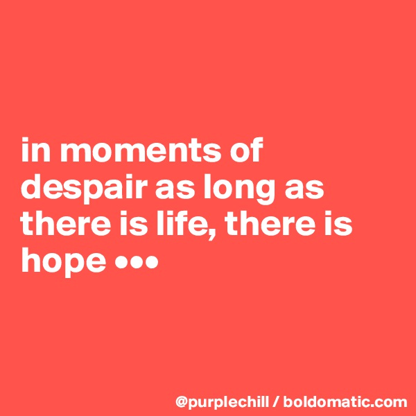 in moments of despair as long as there is life, there is hope •••
