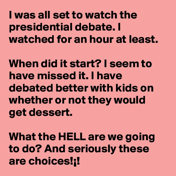 I was all set to watch the presidential debate. I watched for an hour at least.  When did it start? I seem to have missed it. I have debated better with kids on whether or not they would get dessert.  What the HELL are we going to do? And seriously these are choices!¡!