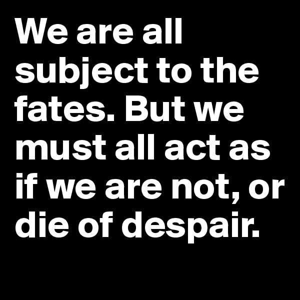 We are all subject to the fates. But we must all act as if we are not, or die of despair.
