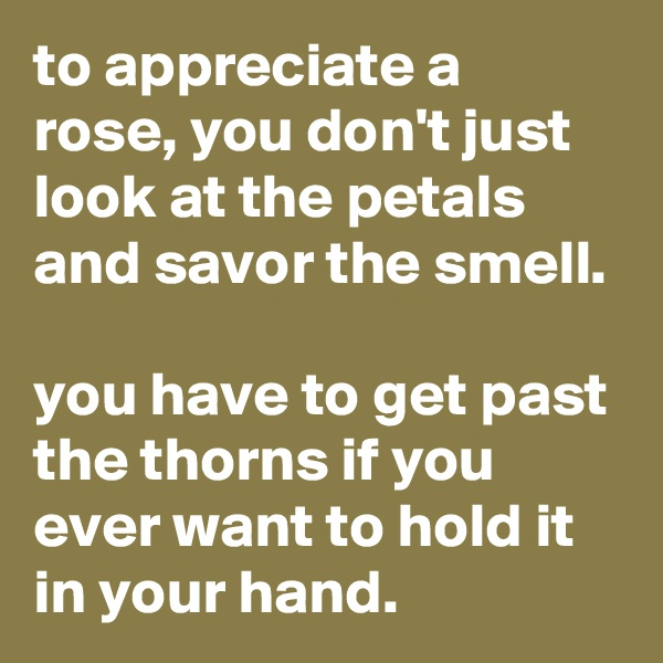 to appreciate a rose, you don't just look at the petals and savor the smell.  you have to get past the thorns if you ever want to hold it in your hand.