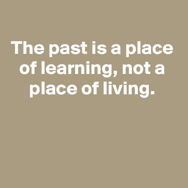 The past is a place of learning, not a place of living.