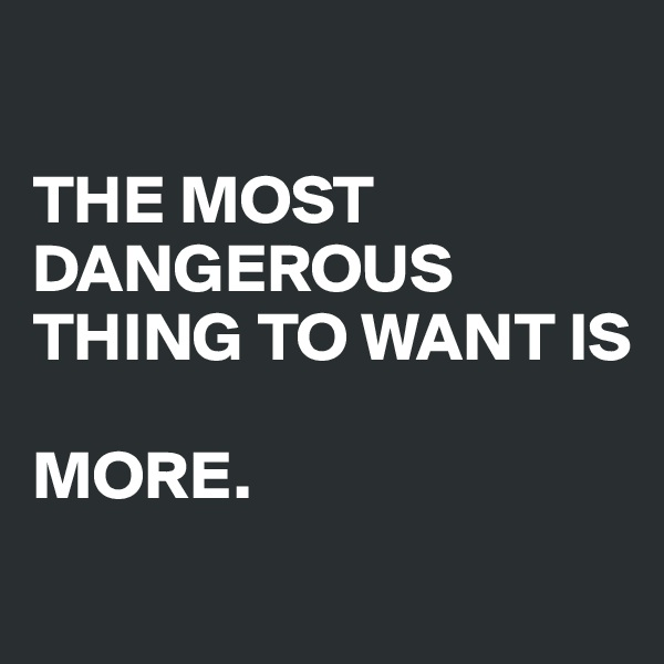 THE MOST DANGEROUS THING TO WANT IS   MORE.