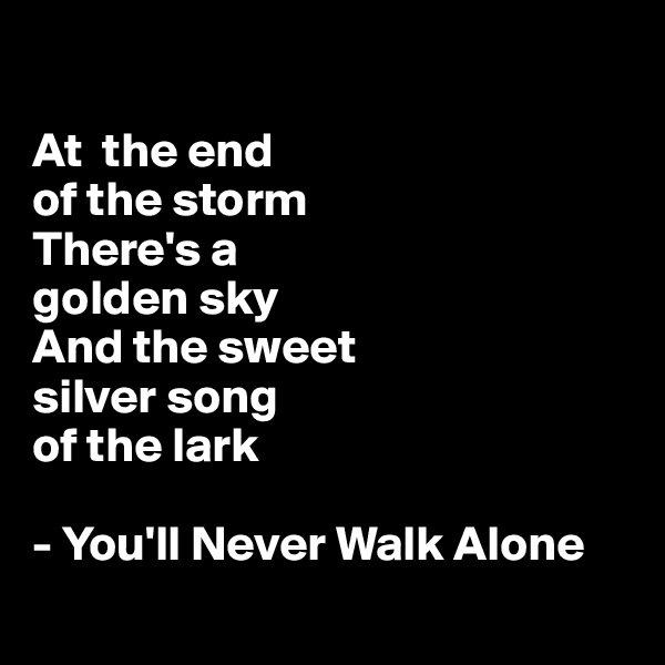 At  the end  of the storm  There's a  golden sky  And the sweet  silver song  of the lark  - You'll Never Walk Alone