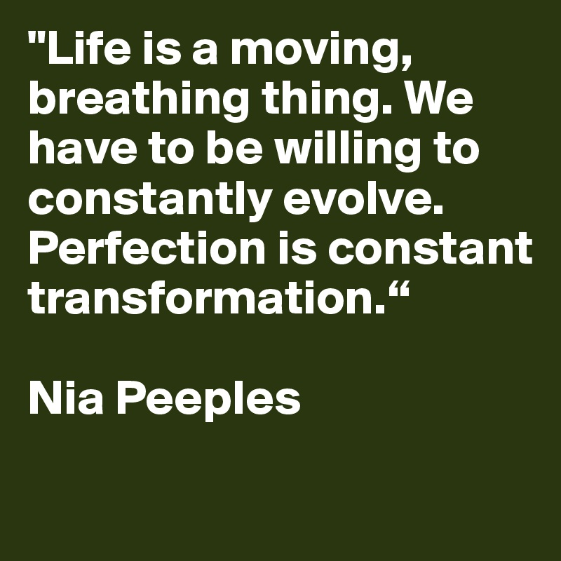 """Life is a moving, breathing thing. We have to be willing to constantly evolve. Perfection is constant transformation.""    Nia Peeples"