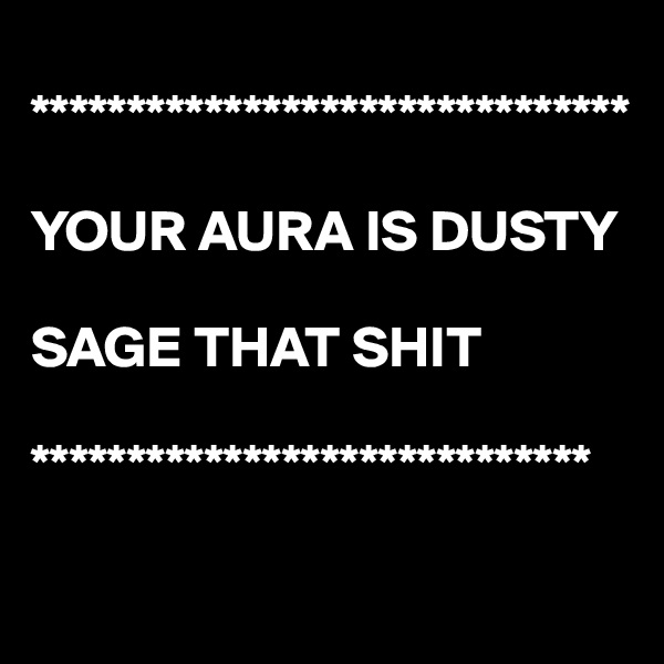 *******************************  YOUR AURA IS DUSTY  SAGE THAT SHIT   *****************************