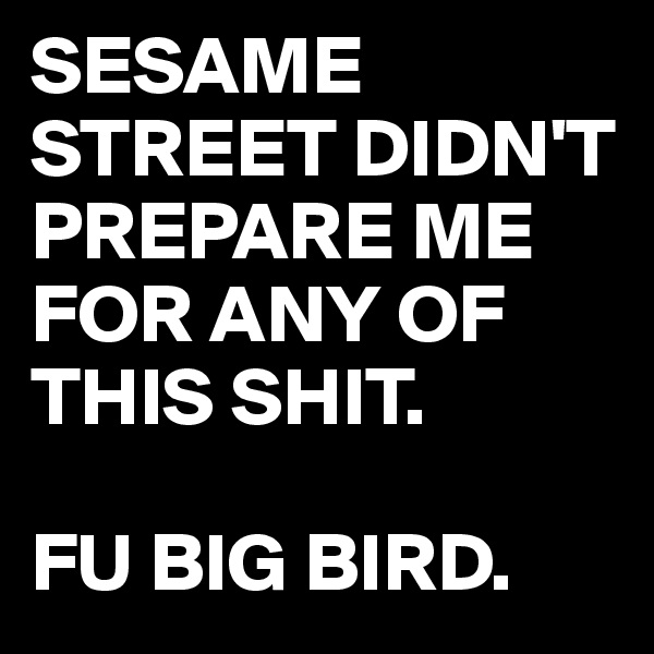 SESAME STREET DIDN'T PREPARE ME FOR ANY OF THIS SHIT.  FU BIG BIRD.