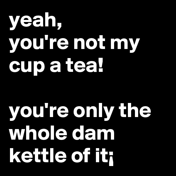 yeah,  you're not my cup a tea!  you're only the whole dam kettle of it¡
