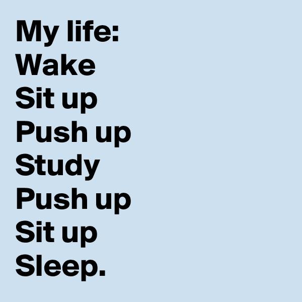 My life: Wake  Sit up Push up Study  Push up  Sit up Sleep.
