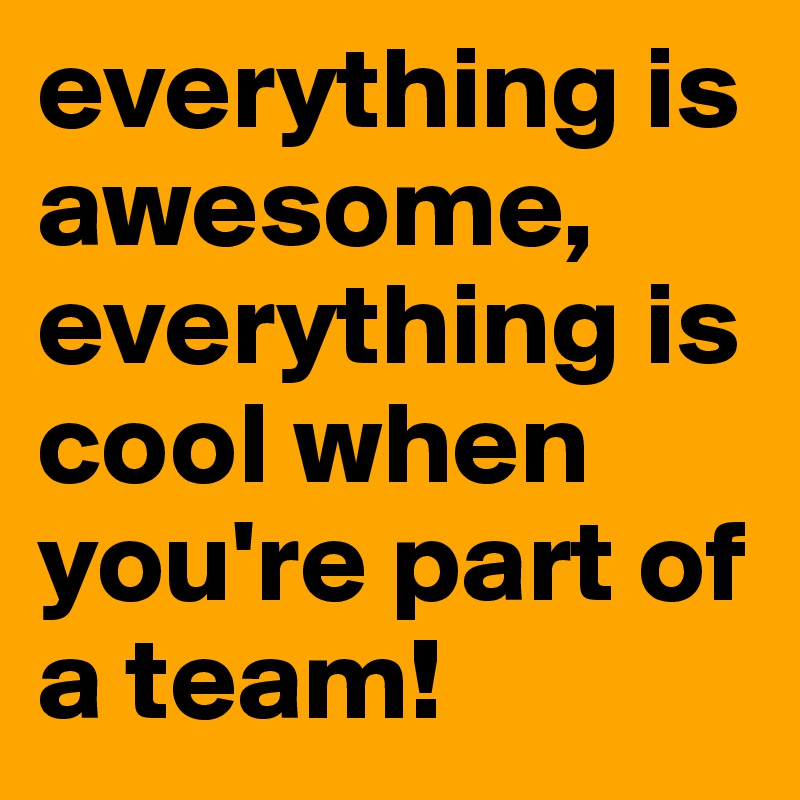 everything is awesome, everything is cool when you're part of a team!