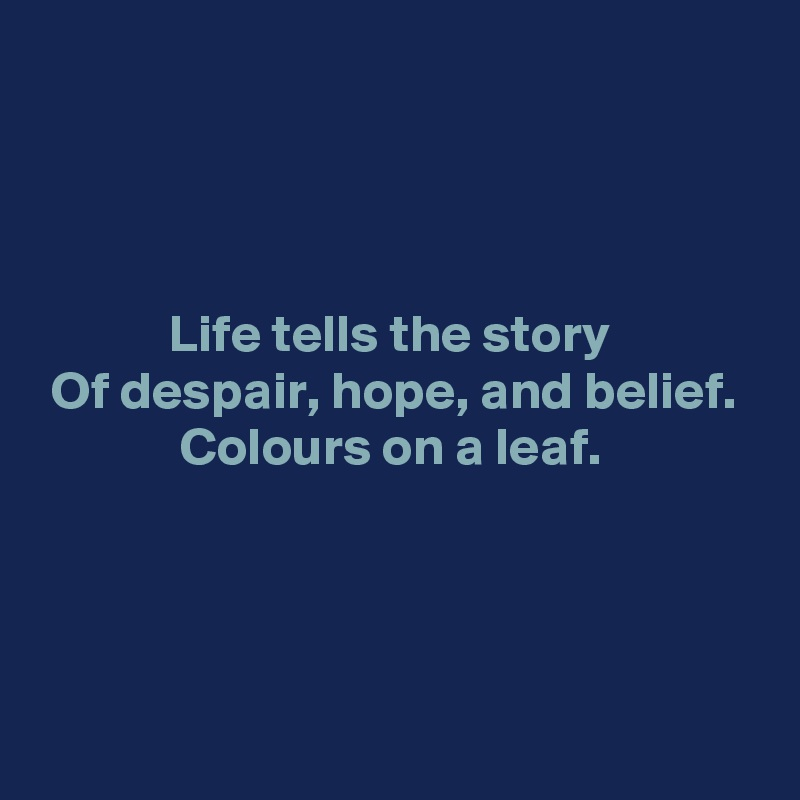 Life tells the story  Of despair, hope, and belief.  Colours on a leaf.