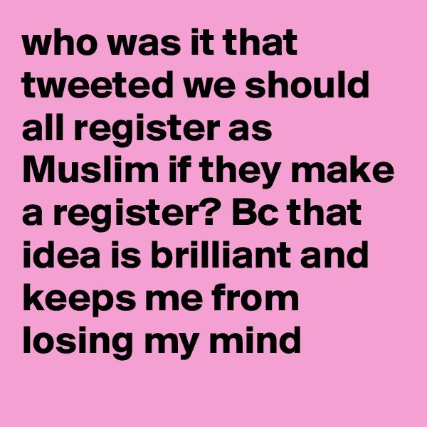 who was it that tweeted we should all register as Muslim if they make a register? Bc that idea is brilliant and keeps me from losing my mind