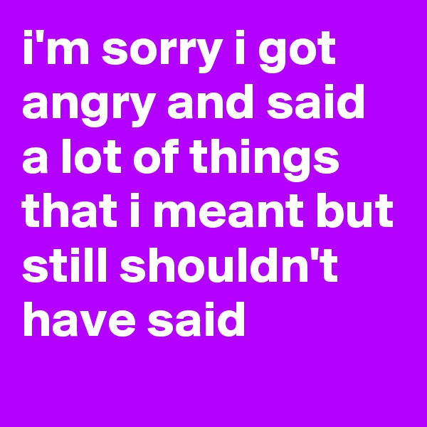 i'm sorry i got angry and said a lot of things that i meant but still shouldn't have said