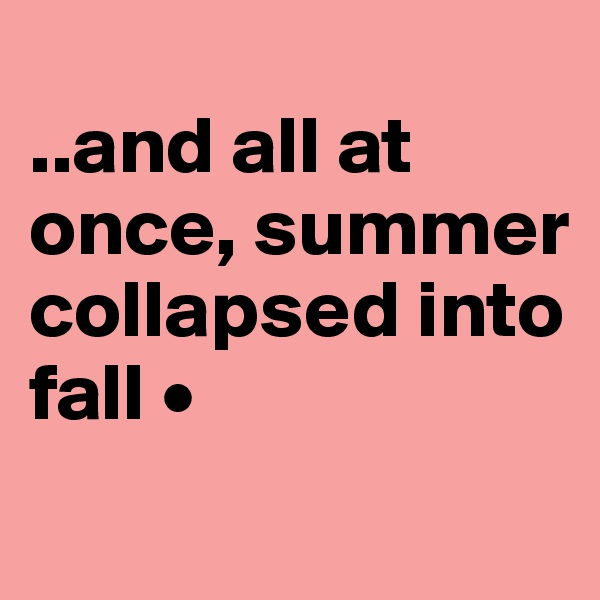 ..and all at once, summer collapsed into fall •