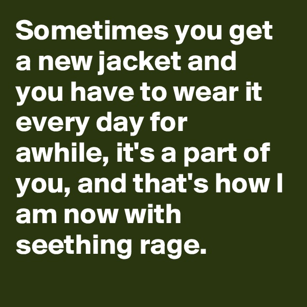 Sometimes you get a new jacket and you have to wear it every day for awhile, it's a part of you, and that's how I am now with seething rage.