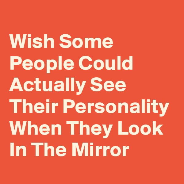 Wish Some People Could Actually See Their Personality When They Look In The Mirror