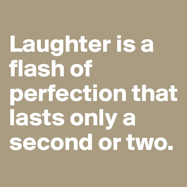 Laughter is a flash of perfection that lasts only a second or two.