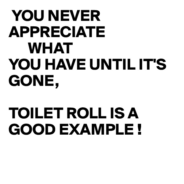 YOU NEVER APPRECIATE       WHAT YOU HAVE UNTIL IT'S GONE,  TOILET ROLL IS A GOOD EXAMPLE !