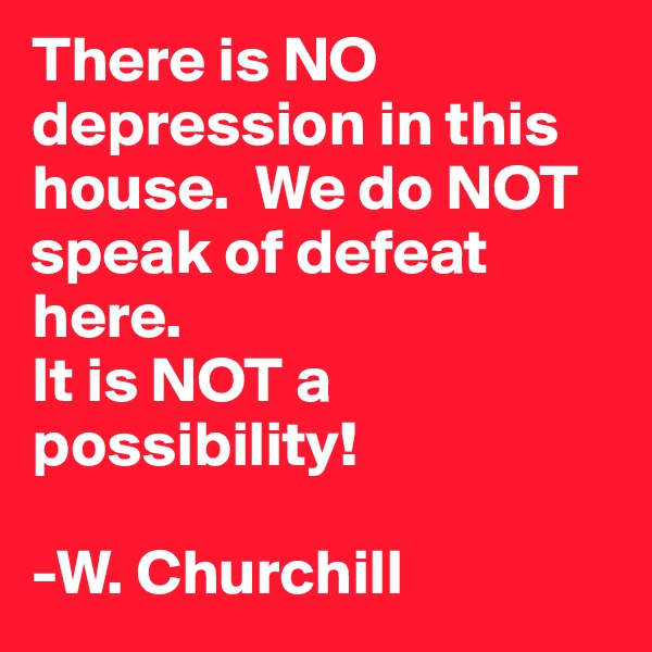 There is NO depression in this house.  We do NOT speak of defeat here. It is NOT a possibility!  -W. Churchill