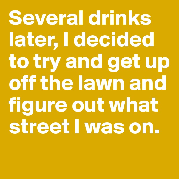 Several drinks later, I decided to try and get up off the lawn and figure out what street I was on.