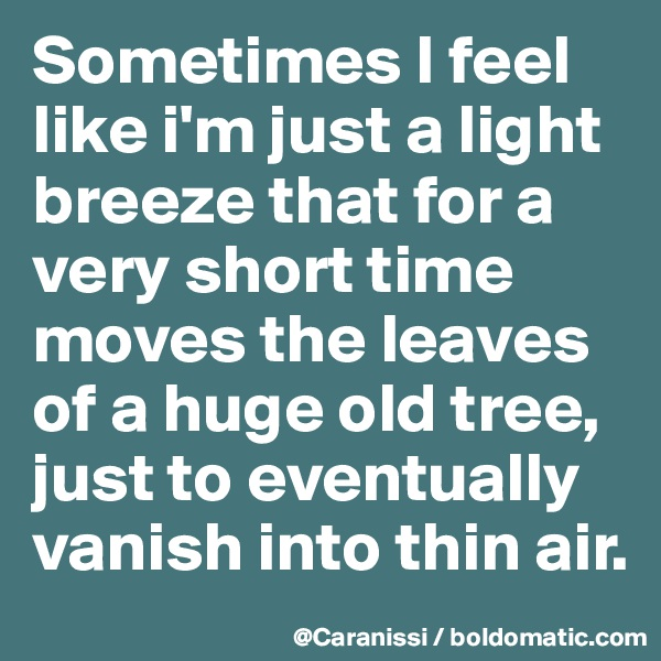 Sometimes I feel like i'm just a light breeze that for a very short time moves the leaves of a huge old tree, just to eventually vanish into thin air.