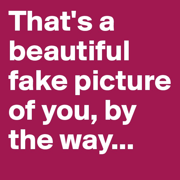 That's a beautiful fake picture of you, by the way...