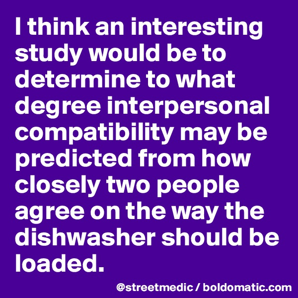 I think an interesting study would be to determine to what degree interpersonal compatibility may be predicted from how closely two people agree on the way the dishwasher should be loaded.