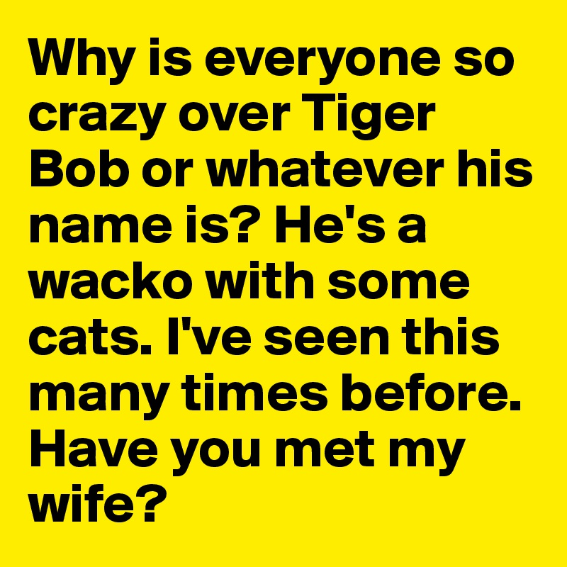 Why is everyone so crazy over Tiger Bob or whatever his name is? He's a wacko with some cats. I've seen this many times before. Have you met my wife?