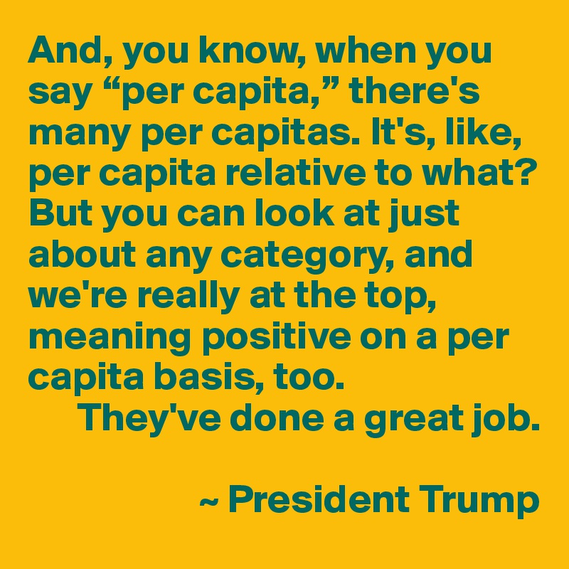 """And, you know, when you say """"per capita,"""" there's many per capitas. It's, like, per capita relative to what? But you can look at just about any category, and we're really at the top, meaning positive on a per capita basis, too.       They've done a great job.                       ~ President Trump"""