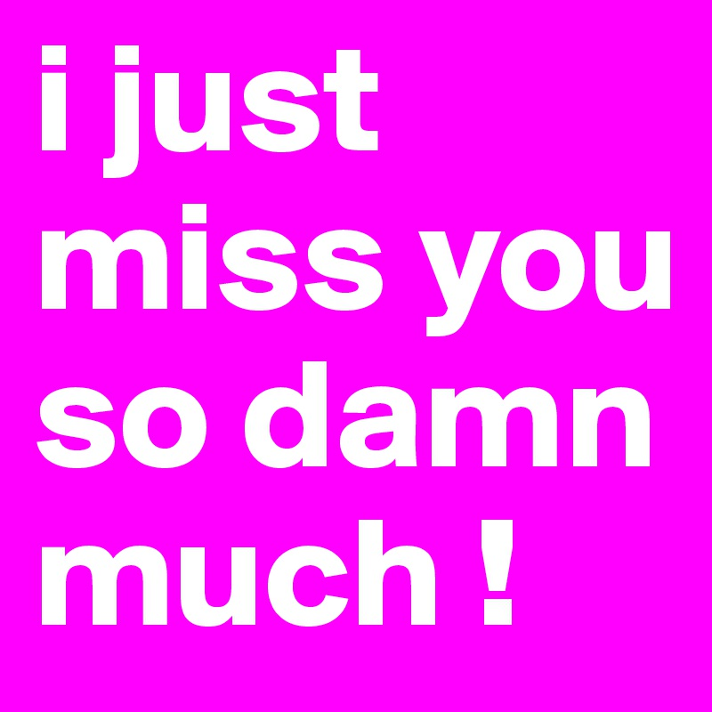 I Just Miss You So Damn Much !