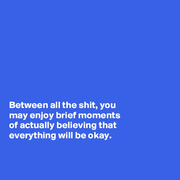 Between all the shit, you  may enjoy brief moments  of actually believing that  everything will be okay.