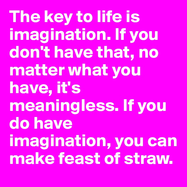 The key to life is imagination. If you don't have that, no matter what you have, it's meaningless. If you do have imagination, you can make feast of straw.
