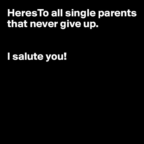 HeresTo all single parents that never give up.   I salute you!