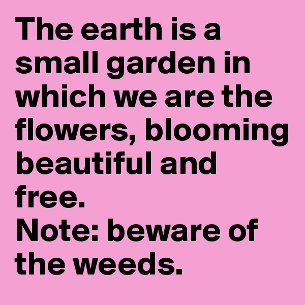 The earth is a small garden in which we are the flowers, blooming beautiful and free. Note: beware of the weeds.