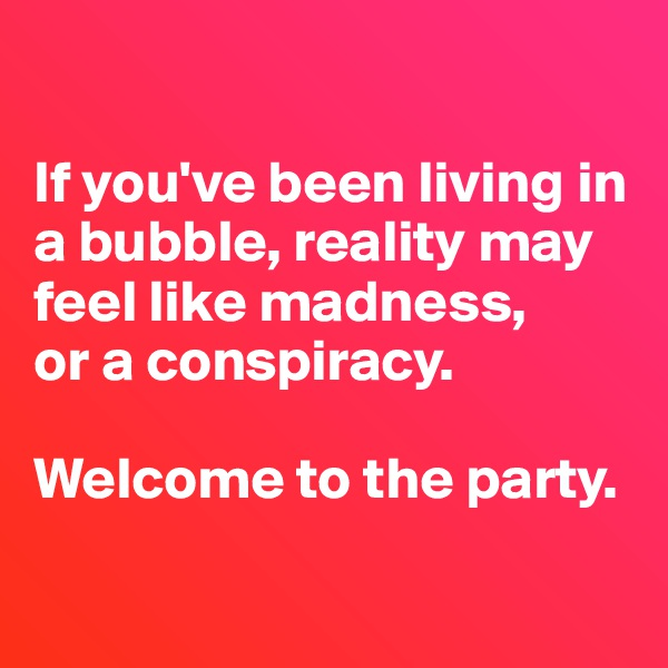 If you've been living in a bubble, reality may feel like madness, or a conspiracy.  Welcome to the party.