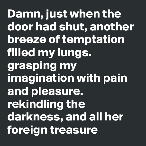 Damn, just when the door had shut, another breeze of temptation filled my lungs. grasping my imagination with pain and pleasure. rekindling the darkness, and all her foreign treasure