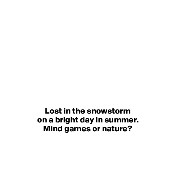 Lost in the snowstorm on a bright day in summer. Mind games or nature?