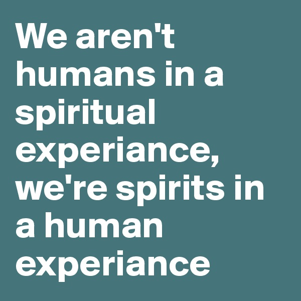 We aren't humans in a spiritual experiance, we're spirits in a human experiance