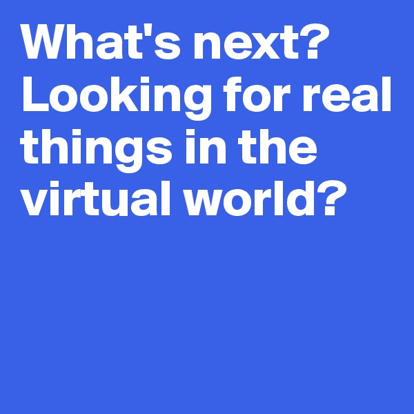 What's next?  Looking for real things in the  virtual world?