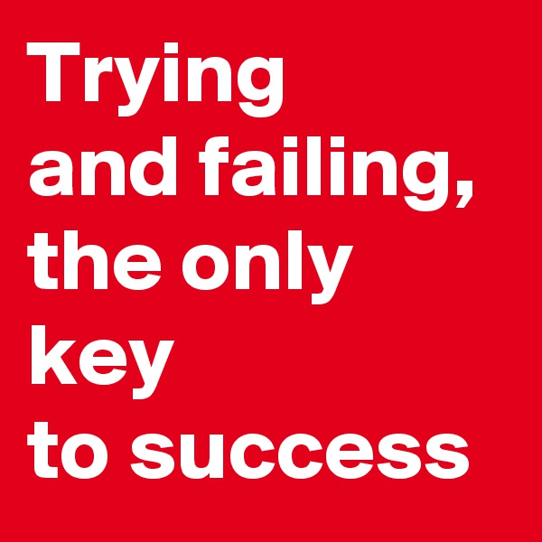 Trying  and failing,  the only key  to success