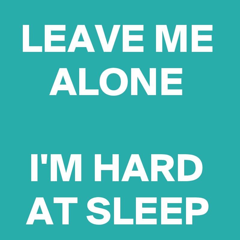 LEAVE ME ALONE  I'M HARD AT SLEEP